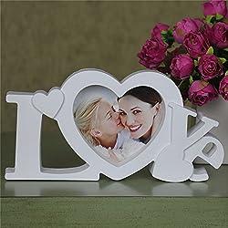 All Smiles 写真立て プレゼント フォトフレーム おしゃれ 北欧 LOVE ホワイト 恋人 カップル 結婚 祝い ハート デザイン 家族 ベビー 写真飾り スタンド 壁掛け兼用