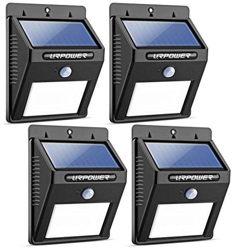 URPOWER ソーラーライト 8LED 4パック ワイヤレス 防水 屋外モーションセンサーライト モーションアクティベート自動オン/オフ パティオ/デッキ/庭に 4 Pack 8 LED 4