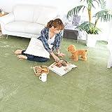 なかね家具 洗える フランネルカーペット 大判サイズ ホットカーペット カバー 正方形 カーペット 無地 ラグカーペット 江戸間4.5畳(261x261) グリーン 217kuramixi