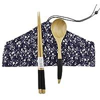 日本スタイル天然木製箸スプーンカトラリーセット旅行布Carryバッグthree-piece tableware-a08