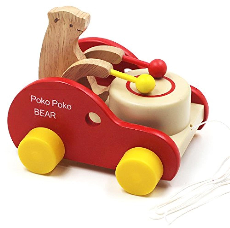 木製の幼児教育用の知育玩具 クマさんがドラムを打つトラクター 歩くことを勉強する玩具 汽車ポッポ おもちゃ 木製プルトイ