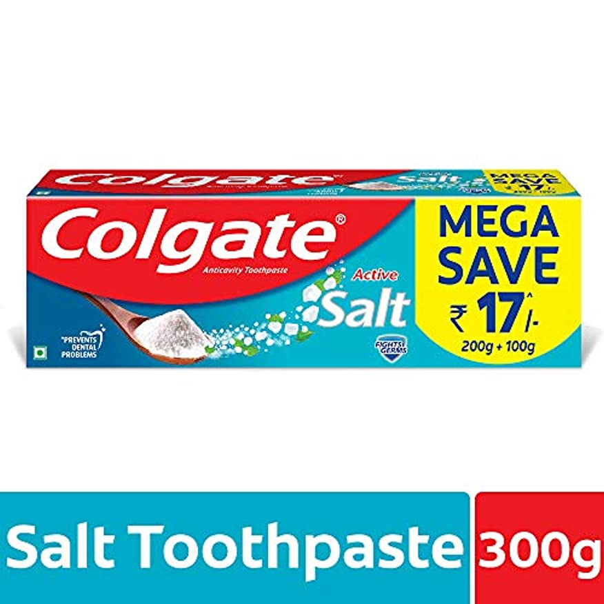 テンポ局手がかりColgate Active Salt Toothpaste, 300gm(200gm + 100gm)
