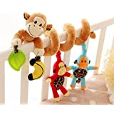 Cute Kids Baby Crib Cot Pram Hanging Rattles Monkey Plush Toy Spiral Stroller Car Seat Toy for Toddlers Baby Girls Boys Gift by TheBigThumb