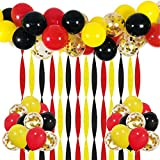 Mickey Party Balloons 40 Pack, 12 Inch Red Black Yellow Latex Balloons with Gold Confetti Balloon Crepe Paper Streamers and Balloon Strip Set for Baby Shower Birthday Party Decorations Supplies