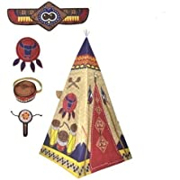 Childrens Kids Boys Indian Teepee Play Tent with 4ドレスUpコスチュームアクセサリー