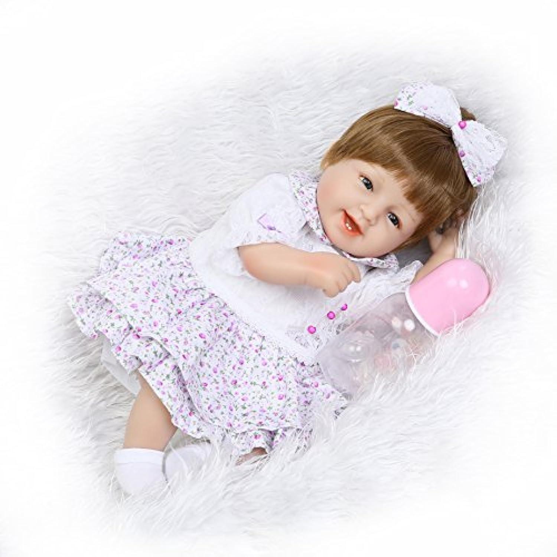 Pursue Baby Real Life Poseableベビー人形ガールエラ青い目、16インチソフトボディビニールリアルな赤ちゃん人形with Accessories