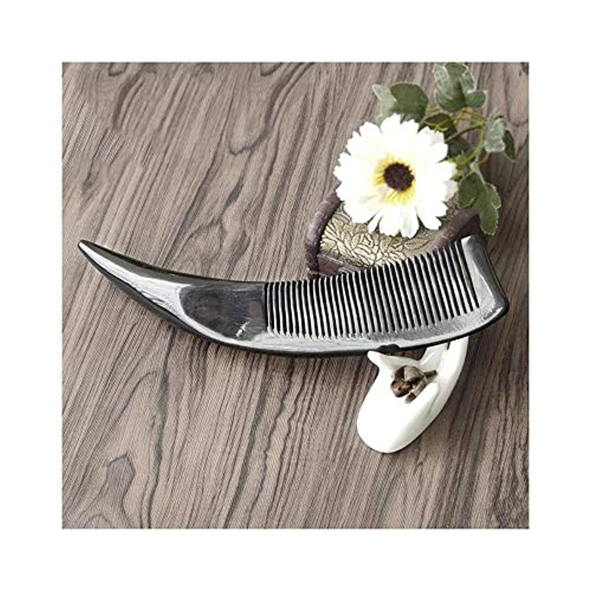 聖人音声学サイドボードWASAIO ブラックバッファローホーン櫛手作りの木製抗静的カーリーストレートヘアブラシはファイン歯ウッドテールブラシ