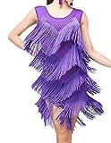 (オーセンティック) AUTHENTIC レディース ダンスウェア ドレス フリンジ ラテン チャチャ ルンバ 演出服 社交ダンス (3XL, パープル)