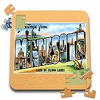 BLNヴィンテージ米国都市とはがきStates–Greetings fromミネソタLand of 10, 000湖風景ポストカード–10x 10インチパズル( P。_ 170238_ 2)
