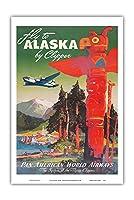 アラスカに飛ぶ - クリッパーの飛行機 - パンアメリカン航空 - トーテムポール - ビンテージな航空会社のポスター によって作成された マーウ・ファン・アレンバーグ c.1947 - アートポスター - 31cm x 46cm