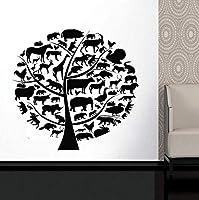 Wxmca ビニールステッカー象シマウマライオンデカール自己接着壁画59×57 Cm