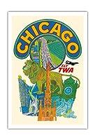 シカゴ, イリノイ州 - TWA (トランス・ワールド航空) で飛ぶ - ビンテージな航空会社のポスター によって作成された デイヴィッド・クライン c.1955 - アートポスター - 76cm x 112cm