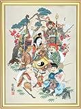 (タリズマンアート)風水七福神 財運招来図 手刷りシルクスクリーン版画 開運絵画 縁起物