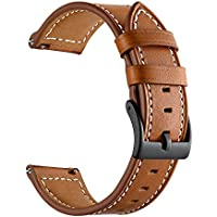 Genuine Leather Watch Band for Samsung Gear Sport,Feicuan 20mm Classic Adjustable Replacement Wristband Strap for Men Women (Brown)