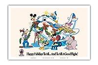 ミッキーマウスとディズニーキャラクター - すべてにハッピーホリデー - デルタ航空(ディズニーワールドの公式航空会社) - ビンテージな航空会社のポスター c.1960s - アートポスター - 31cm x 46cm