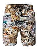 ハーフパンツ 水着 猫柄 通気速乾 男性水着 夏休み UVカット ポケット あり 海用 ランニング カッコイイ