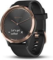 Garmin 010-01850-16 vivomove HR, Rose Gold with Black Silicone Band
