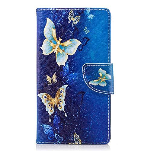 OMATENTI Sony Xperia L2 ケース カード収納 おしゃれ 高級感 手帳型ケース 衝撃吸収 落下防止 防塵 人気 花柄カバー, マグネット開閉式 プロテクター Sony Xperia L2 対応, 青い蝶2