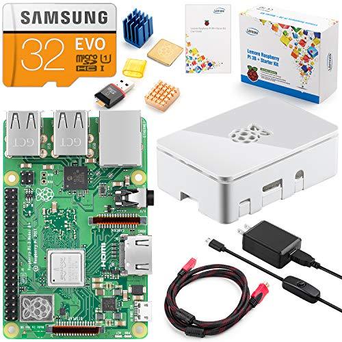 LEMORE Raspberry Pi 3 Model B+スターターキット Raspberry Pi 3B+マザーボード付き 32GBメモリーカード NOOBSソフトウェアプリインストール 5V 3Aスイッチ付き電源アダプタ付き ホワイトシェル HDMIケーブル 純銅ヒートシンク カードリーダー 日本語マニュアル