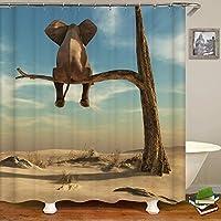 象シャワーカーテン象はシュールな風景の枯れた木の細い枝の上に立つバスルームのカーテン象のバスルームの装飾セットフック付きのバスルームアクセサリー 165X180 CM