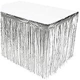 SUNBEAUTY 「1個セット」 パーティー用 キラキラなタッセルカーテン テーブルスカート テーブルカバー 華やかな金属感 パーティー ウェディング 写真背景 デコレーション イベントの装飾 (シルバー)