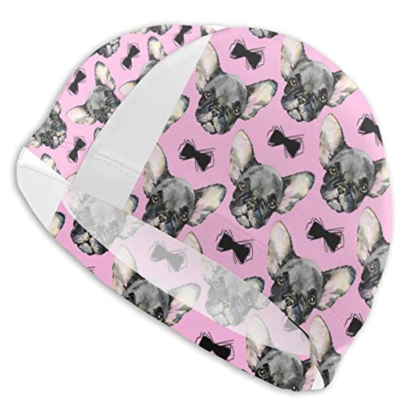 既婚支店ハーブフレンチブルドッグ犬かわいいスイムキャップ スイミングキャップ 水泳キャップ 競泳 水泳帽 メンズ レディース 兼用 ゆったりサイズ フリーサイズ(28-33cm)