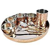 インド料理のための銅、ステンレス鋼、大きなディナープレートターリー食器、1人のためのサービス
