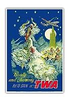 スペイン - 美と調和 - TWAでスペインに飛ぶ - ビンテージな航空会社のポスター によって作成された ペール・クラペラ c.1950s - アートポスター - 33cm x 48cm