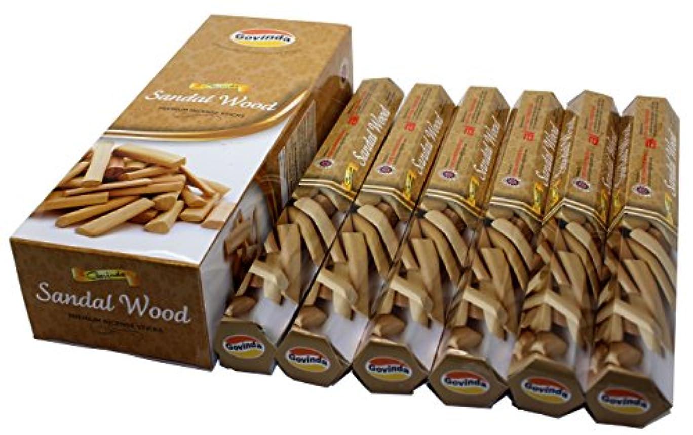 ラベル化石傷跡Govinda ® Incense – サンダルウッド – 120 Incense Sticks、プレミアムIncense、Masalaコーティング