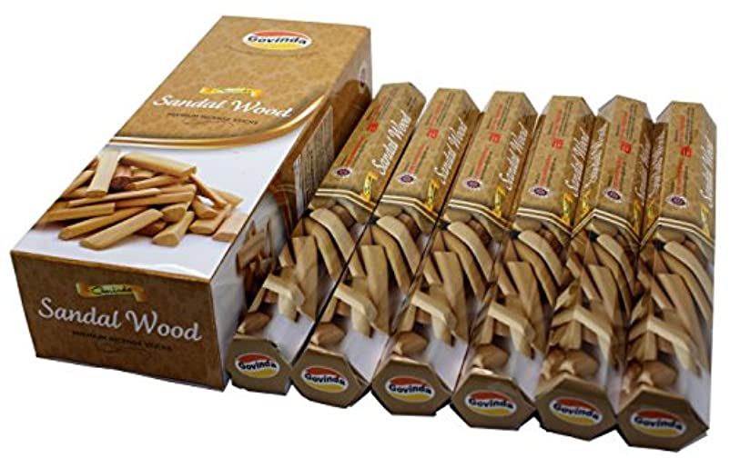 見ました達成男Govinda ® Incense – サンダルウッド – 120 Incense Sticks、プレミアムIncense、Masalaコーティング