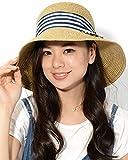 ネイビーボーダー F (ディーループ)D-LOOP UV カット カプリーヌハット リボン 付き 折り畳み 可能 女優帽 レディース つば広 日よけ 折りたたみ ハット 無地 かわいい 紫外線 対策 日除け つばひろ 麦わら 帽子 ぼうし つば広帽子 つば広め 122592-010-630