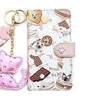 DIGNO U 404KC(4) 全機種対応 手帳型スマホケース 携帯カバー スマホカバー[カード収納/スタンド機能/全面保護/耐衝撃]プレゼント 人気 おしゃれ かわいい 猫 キーリング付 diary-cat (ピンク×ラグドール)