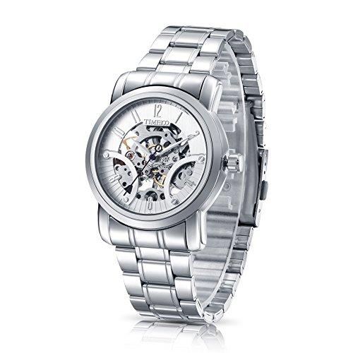 Time100 スケルトン 腕時計 メンズ 自動巻き ステンレス 防水 エリート 機械式腕時計W60041G (シルバー)