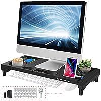 EAYHM モニター台 4 USBポート パソコン台 モニタースタンド 大容量 机上台 収納ラック 日本語説明書付 KM-01 ブラック