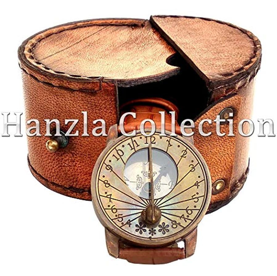 時クランシークランシーヴィンテージNautical日時計コンパスソリッド真鍮Wrist Watch withレザーケースギフト