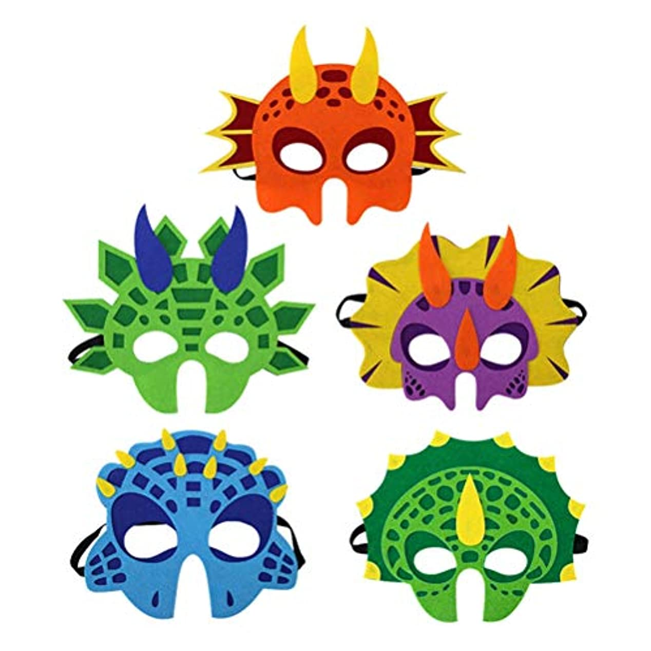 BESTOYARD 5ピース恐竜マスクコスプレフェルトマスクかわいい恐竜漫画フェイスマスク用子供キッズパーティー用品