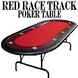 10-player Casino Poker Gameテーブルwithレッドフェルト、ステンレススチールカップホルダー、&ダーク木製Raceトラックby Brybelly