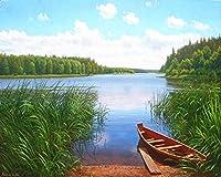 番号によるZDDYXの絵画DIYの壁の装飾の湖のartの芸術の手描きのデジタル絵画24色のカラーブラシの絵画DIYの絵画量、フレームとのサイズ40X50Cm