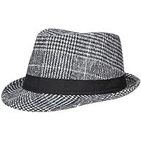 EOZY ハット 中折れ フェルトハット モダンハット 小顔効果 カジュアル 紳士帽 女優帽 ユニセックス ラシャ帽子 大人 上品 チェック柄 帽子