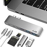 """OJA USB-C 3.1ハブ Type C ハブ 6 in 2  USB type-C Hubアダプター スピード40Gbs Thunderbolt 3インターフェース 5Kビデオ 5Gbs高速3.0ポート SD*1/micro SD*1カードリーダー アルミニウム合金 コアエディション MacBook Pro 13""""15""""に対応 PD機能 充電中にデータを転送できる グレー …"""