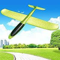 HUOFU おもちゃ 飛行機 子供 グライダー アウトドアプレイ 手投げ飛行機 6歳以上 モデル 親子ゲーム 回転飛行 フラットフライト EPPフォーム 慣性で飛び 発泡製 軽量 携帯便利 組み立て簡単 インドア 野外 キャンプ ピクニック 公園 遠足 (黄緑, 48CM,1枚)