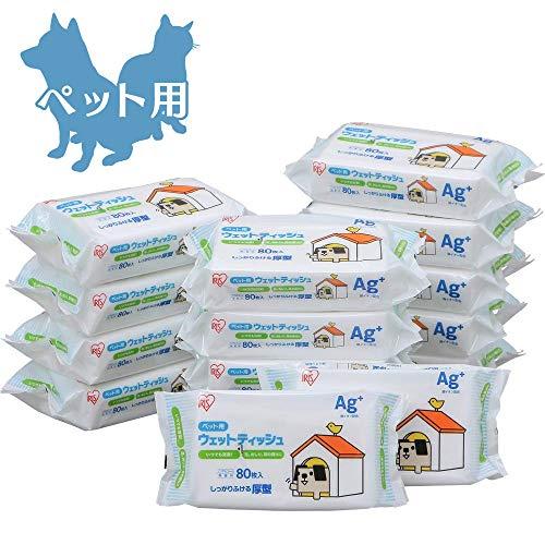 【Amazon.co.jp限定】 アイリスオーヤマ ペット用 ポチウェットティッシュ 80枚入×15袋