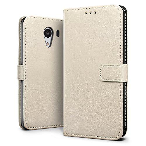Y!mobile android one S2ケース【SLEO】SoftBank DIGNO G (601KC & 602KC) ケース クラシックレトロ・ベストレザー 手帳型 カバー 札入れフリップ PU革 柔軟カバー 京セラ android one S2/DIGNO G (601KC & 602KC) ケース スタント機能 横開き (ベージュ)