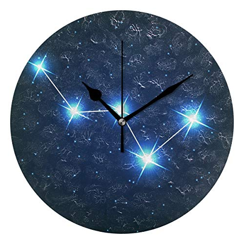 ユキオ(UKIO) 掛け時計 置き時計 壁掛け時計 室内 部屋装飾 壁時計 インテリア おしゃれ 北欧 カシオペア座 星座柄 ギフト 時計 アート 部屋 ウォールクロック 円型 かわいい