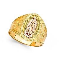 14KイエローローズゴールドBig Lady of Guadalupeクロスバンドリングオーバルダイヤモンドカット2つトーン15mm