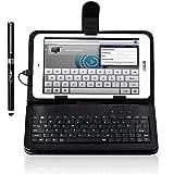 """8インチ タブレット ケースIVSO® 8インチ専用タブレットキーボード付ケースmicroUSB 端子 接続のキーボード PUレザーケース内蔵型 薄くて軽い スタンド付き魅力的持ち運びに便利なタッチペンも付き!タッチペンに弊社の商標""""IVSO""""を刻む! (ブラック)"""