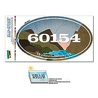 60154 ウエストチェスター, IL - 川岩 - 楕円形郵便番号ステッカー
