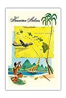 ハワイルートマップ - ハワイアン航空 - c.1950s - アートポスター - 76cm x 112cm