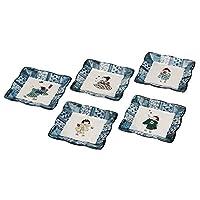 九谷焼 4.2号皿揃(角皿5枚セット)わらべK5-40