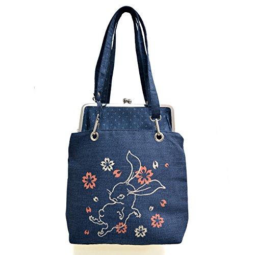 (チキリヤ)ちきりや がま口2WAYバッグ「花チキリ兎と桜」 ネイビー FREE